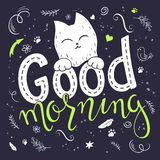 Vector illustration of hand lettering text - good morning. There is cute fluffy cats, surrounded with curly, swirly, paw Royalty Free Stock Photos