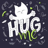 Vector illustration of hand lettering text - hug me Royalty Free Stock Image
