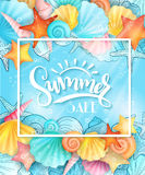 Vector illustration of hand lettering text - summer sale - with frame and seashells on sea water background Stock Images