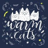 Vector illustration of hand lettering text - warm cats. There are three cute fluffy cats, surrounded with curly, swirly, paw print Royalty Free Stock Images