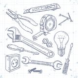 Hand sketch icons set of carpentry tools, pliers, screwdriver, light bulb and the wrench. Vector illustration, hand sketch icons set of carpentry tools, pliers stock illustration