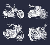 Vector illustration of hand sketched vintage motorcycles.Detailed drawings for custom bikes companies,chopper stores etc. Vector illustration of hand sketched Stock Photography