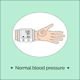 Vector illustration with hand and tonometer. Royalty Free Stock Photography
