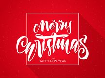 Hand type lettering of Merry Christmas and Happy New Year on red background. Vector illustration: Hand type lettering of Merry Christmas and Happy New Year on vector illustration