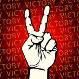 Vector illustration hand with victory sign Stock Image