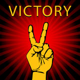 Vector illustration hand with victory sign Stock Photos