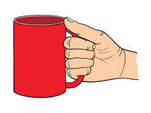 Vector Illustration of the hand which holds the cup. Royalty Free Stock Photos