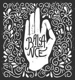 Vector illustration with hand in yoga gesture and hand written word Balance. Balance. Vector illustration with white hand silhouette in pose Jnana or Chin mudra Stock Images
