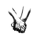 Vector illustration handdrawn holding hands Royalty Free Stock Photos