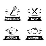 Vector illustration handdrawn kitchen icon set with title stock illustration