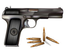 Vector illustration of handgun with bullets Stock Photography