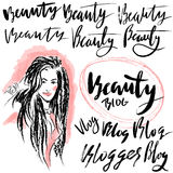 Vector illustration handmade calligraphy. Text beauty blog for of social media content Stock Photo