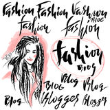 Vector illustration handmade calligraphy. Text fashion blog for of social media content Stock Photos