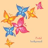 Vector illustration handmade drawing pastel chalks butterfly bac Stock Image
