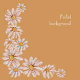 Vector illustration handmade drawing pastel chalks floral backgr Stock Photography