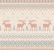 Handmade knitted background pattern reindeers, fir christmas tre. Vector illustration Handmade knitted background pattern with reindeers, mooses, fir christmas Stock Photo
