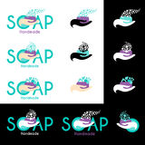 Vector illustration with handmade soap logo. Stock Photo
