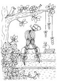Vector illustration of handmade work, zentangl girl sitting on the bench. Doodle drawing. Coloring page Anti stress for. Adults. Black and white Royalty Free Stock Photo