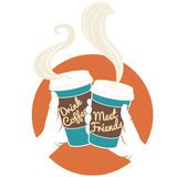 Vector Illustration Hands holding disposable coffee cups. Cardbo Royalty Free Stock Photos
