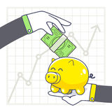 Vector illustration of hands with yellow piggy bank and green mo Stock Image