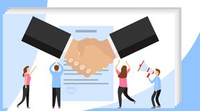 Vector illustration, handshake, conclusion of a contract. Symbol of success deal, happy partnership icon, greeting shake. Successful partnership stock illustration