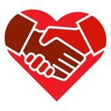 Handshake team hands heart logo stock illustration
