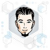 Vector illustration of handsome brunet male face with beard, pos Stock Photos