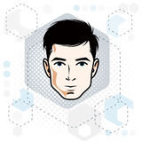 Vector illustration of handsome brunet male face with beard, pos Royalty Free Stock Image