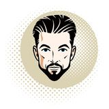 Vector illustration of handsome brunet male face with mustache a Stock Image