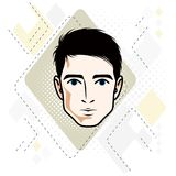Vector illustration of handsome brunet male face, positive face Stock Photography
