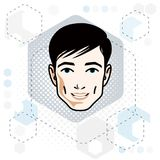 Vector illustration of handsome brunet male face, positive face. Features, clipart Stock Images