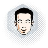 Vector illustration of handsome brunet male face, positive face. Features, clipart Royalty Free Stock Images