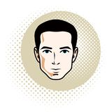 Vector illustration of handsome brunet male face, positive face. Features, clipart Stock Image
