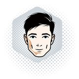 Vector illustration of handsome brunet male face, positive face. Features, clipart Stock Photography