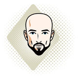 Vector illustration of handsome hairless male face with mustache Royalty Free Stock Photos