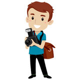 Handsome Man holding a Digital Camera wearing a Satchel Bag Stock Photography