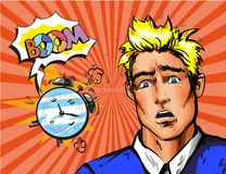 Vector pop art man waking up late in the morning. Vector illustration of handsome young man, alarm clock and boom speech bubble. Panic man waking up late in the Stock Image