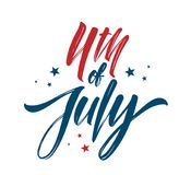 Vector illustration: Handwritten brush lettering composition of 4th of July on white background. Happy Independence Day.  Stock Images