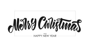 Vector illustration. Handwritten brush lettering of Merry Christmas and Happy New Year on white background vector illustration
