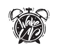 Vector illustration: Handwritten brush type lettring of Wake Up with hand drawn Alarm Clock on white background. Vector illustration: Handwritten brush type Vector Illustration
