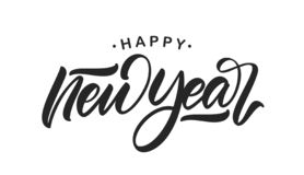 Handwritten calligraphic brush lettering of Happy New Year isolated on white background. Vector illustration. Handwritten calligraphic brush lettering of Happy stock illustration