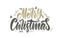 Vector illustration. Handwritten calligraphic brush lettering of Merry Christmas with golden doodles decoration stock illustration