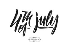 Vector illustration: Handwritten calligraphic lettering composition of 4th of July. Happy Independence Day.  Royalty Free Stock Photography