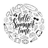 Handwritten elegant brush lettering of Hello Summer Time with set of vacation elements. Tropical Journey decoration. stock illustration