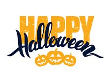 Vector illustration: Handwritten lettering composition with Happy Halloween and pumpkins isolated on white background.  Stock Photo