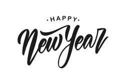 Vector illustration. Handwritten modern brush lettering of Happy New Year isolated on white background.  stock illustration