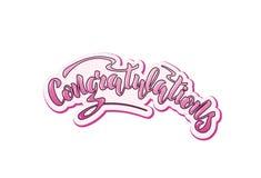 Vector illustration with handwritten phrase - Congratulations. Lettering vector illustration