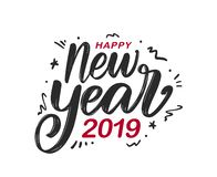 Vector illustration. Handwritten textured brush lettering of Happy New Year with doodles decoration on white background vector illustration