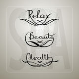 Vector illustration with handwritten words Relax Beauty Health. Stock Images
