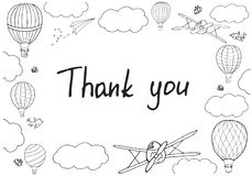 Vector illustration, handwritten words `Thank you` in hand drawn royalty free illustration